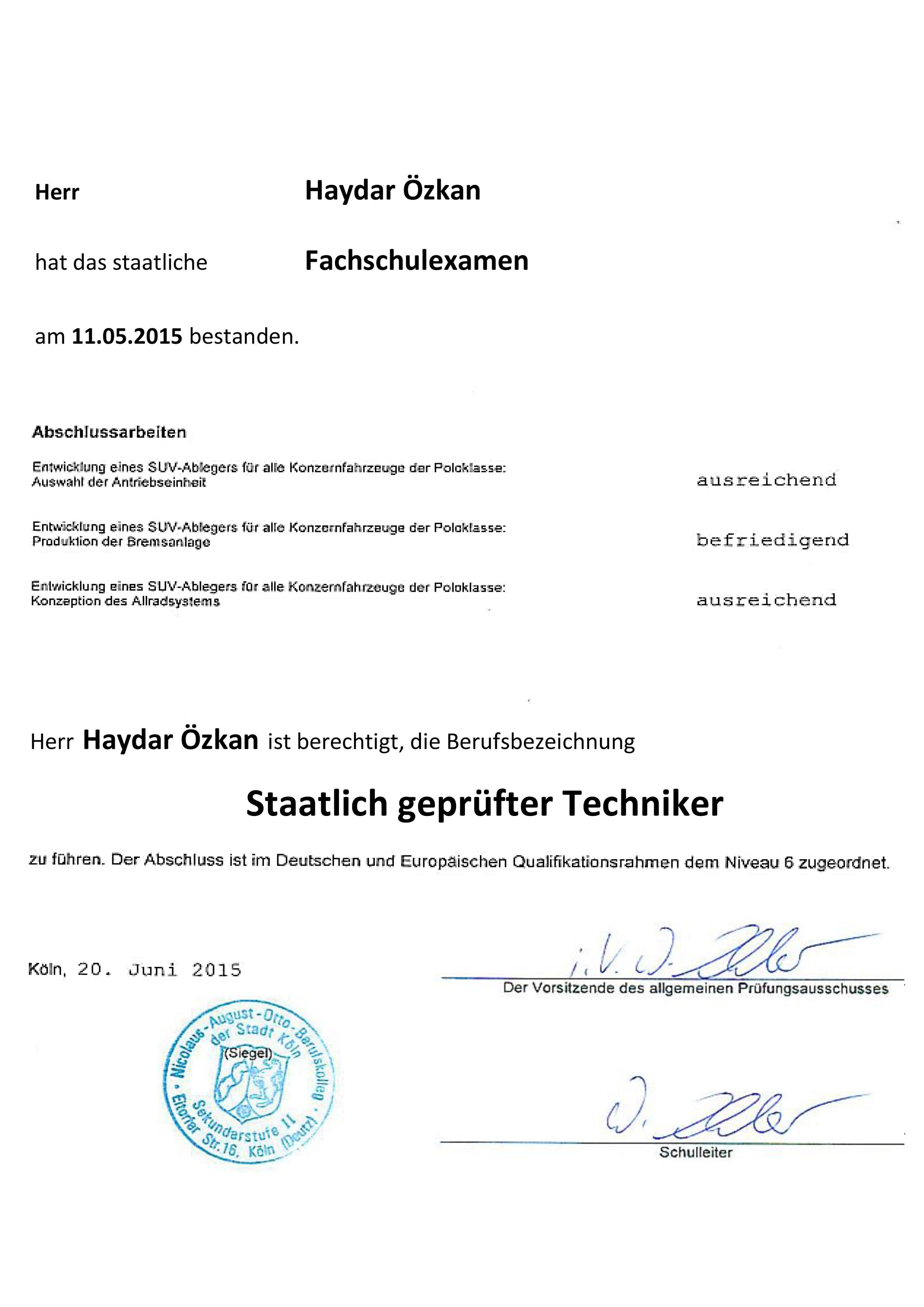 Staatlich geprüfter Techniker